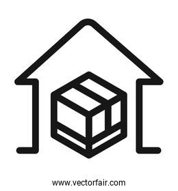 delivery cargo service logistic cardboard box in house line style icon