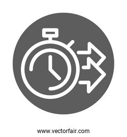 delivery cargo service logistic stopwatch time fast block style icon
