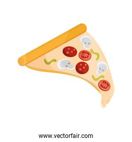 pizza with pepperoni fast food flat style icon
