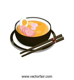 japanese ramen soup with chopsticks and dish food flat style icon