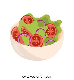bowl with salad tomato lettuce health food flat style icon