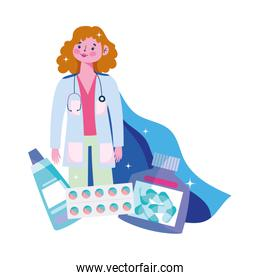 thanks you doctors, female physician with cape hero character and medication pills capsule