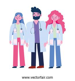 thanks you doctors, professional physician male and female cartoon characters