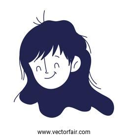 cute young woman face cartoon isolated icon on white background