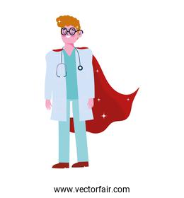 thanks doctor, physician male professional with superhero cape
