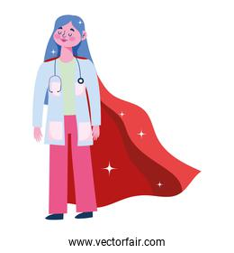 thanks doctor, female physician character with superhero cape