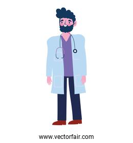 male doctor professional medical character with stethoscope