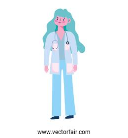 physician female character professional staff with stethoscope medical