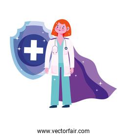 thanks you doctors, female physician with hero character
