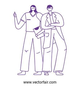 female nurse and male physician with protective mask medical and report
