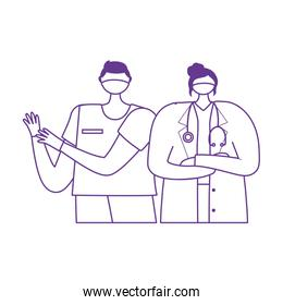 thanks doctors nurses, female physician and nurse with protective mask medical