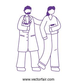 thanks doctors nurses, male physician nurse with medical report staff