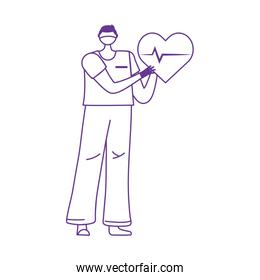thanks doctors nurses, male nurse with heartbeat medical support