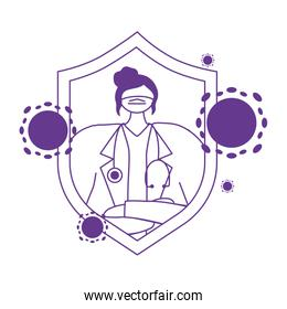 thanks doctors nurses female physician with medical mask stethoscope protection character
