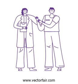 thanks doctors nurses, female physician and nurse with medical gloves and masks
