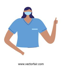 female nurse staff character worker medical isolated design