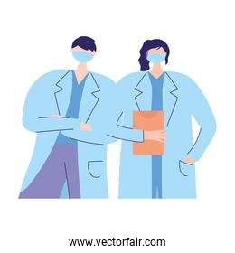 thanks doctors nurses, female and male physician with protective mask medical