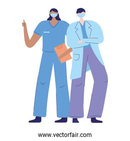 thanks doctors nurses, female nurse and male physician with protective mask medical and report