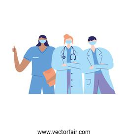 thanks doctors nurses, female and male physician nurse with mask medical report