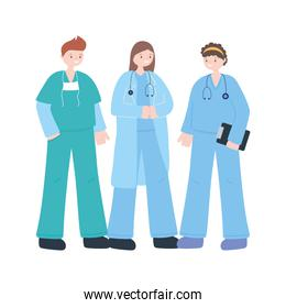 thanks doctors nurses, team group physicians and nurses characters