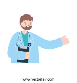 doctor professional character with medical report and stethoscope