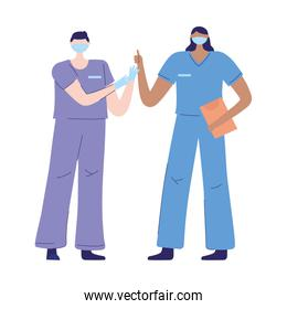 thanks doctors nurses, male female nurses with protective masks and medical report staff