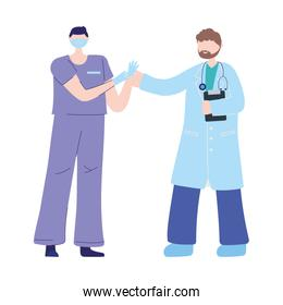 thanks doctors nurses, physician and nurse with mask and medical gloves