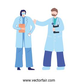 thanks doctors nurses, female physician with medical mask and male professional