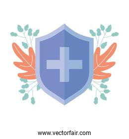 medical shield protection emergency cross symbol isolated icon