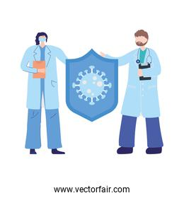 thanks doctors nurses, physicians female and male character protection coronavirus covid 19