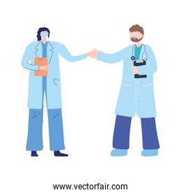 thanks doctors nurses, physicians female and male with mask and report medical