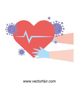 thanks doctors nurses medical hands with heartbeat health