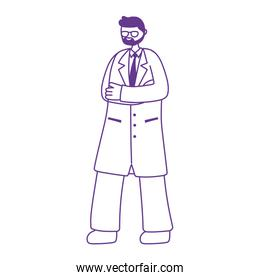 doctor professional character male beard with coat isolated design