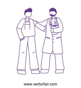 professional doctor and nurse staff medical line style icon