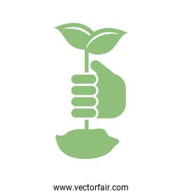 hand holding a plant icon, silhouette style