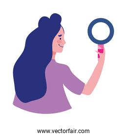 young woman holding magnifier isolated icon on white background