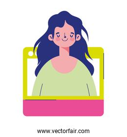 education online, student girl character website virtual class