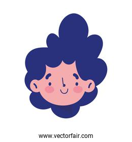 young boy face cartoon isolated icon on white background