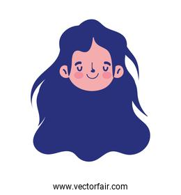 girl face character isolated icon on white background