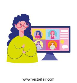 meeting online, young woman with computer talking group people