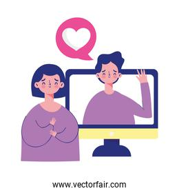 couple computer talking romantic message, isolated icon