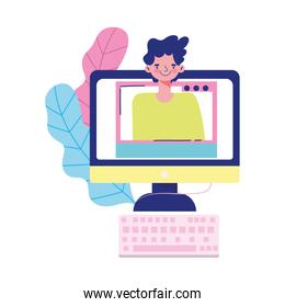education online, computer keyboard student website lesson