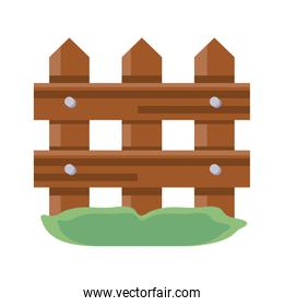 wooden fence icon, flat detail style