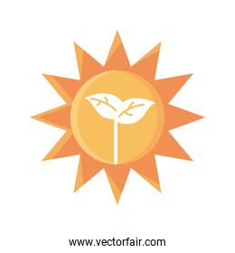 sun with plant icon, flat detail style
