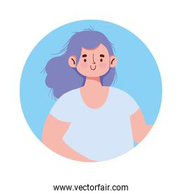 young woman female cartoon avatar isolated icon design