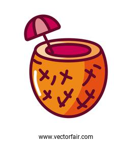 coconut cocktail icon, fill style icon