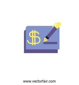 Isolated money check and pen vector design