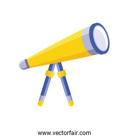 telescope for astronomy on white background