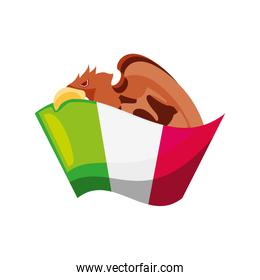 mexican flag with eagle on white background