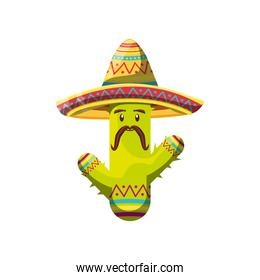 cute cactus with mexican hat on white background